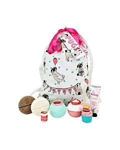 Present, Bomb Cosmetics Pugs and Kisses, i ryggsäck